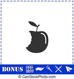 Bite apple icon flat
