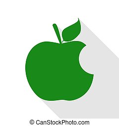 Bite apple sign. Green icon with flat style shadow path.