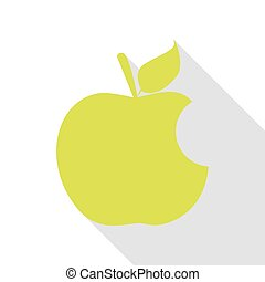Bite apple sign. Pear icon with flat style shadow path.