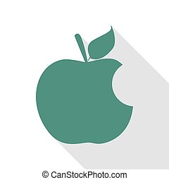 Bite apple sign. Veridian icon with flat style shadow path.