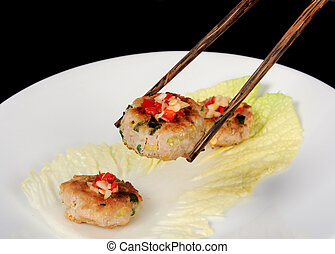 Asian appetizer with chopstick