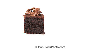 Bite sized chocolate cake with icing on top over white background
