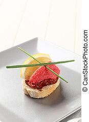 Red caviar canape