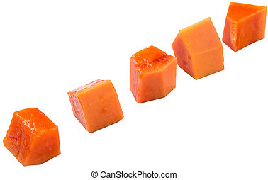 Bite sized papaya fruit over white background