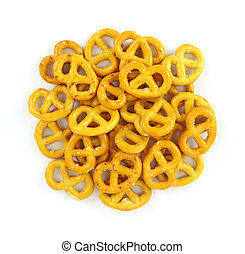 A group of bite sized pretzels on a white background.