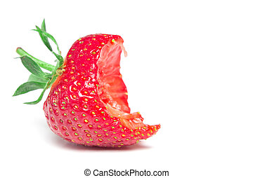 Bite strawberry isolated on a white background