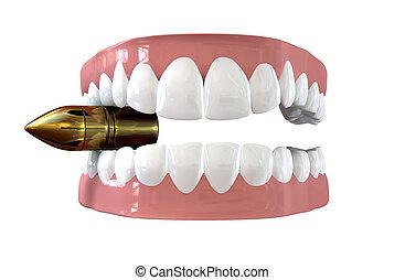 Bite The Bullet - A pair of false teeth set in pink gums ...