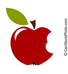 Biten Apple fruit - Red biten apple with leaf isolated over ...