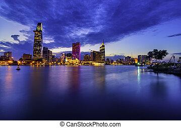 bitexco, financiero, vietnam, rascacielos, torre, minh, ho, ciudad, chi