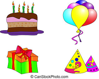 Bithday collage - Picture of brithday cake, ballons, gift...