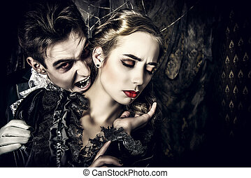 biting a lady - Bloodthirsty male vampire in medieval dress...