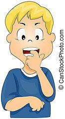Biting Fingernails - Illustration of a Boy Biting His...