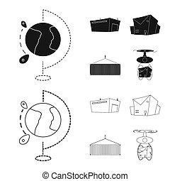 bitmap, conception, de, marchandises, et, cargaison, signe., ensemble, de, marchandises, et, entrepôt, stockage, symbole, pour, web.