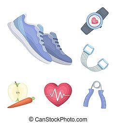 bitmap, design., gymnase, dessin animé, ensemble, toile, formation, équipement, stockage, collection, symbole, icônes, illustration.