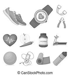 bitmap, design., gymnase, toile, ensemble, formation, équipement, stockage, collection, monochrome, symbole, icônes, illustration.