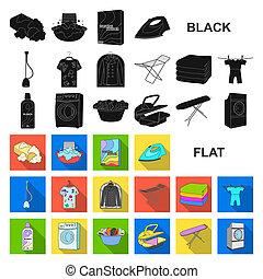 bitmap, design., nettoyage, illustration., ensemble, repassage, toile, lavage, stockage, équipement, sec, collection, vêtements, symbole, icônes, plat