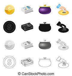 bitmap design of bank and money icon. Collection of bank and bill stock symbol for web.