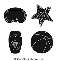 Bitmap design of equipment and swimming symbol. Collection of equipment and activity bitmap icon for stock.