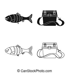 bitmap design of fish and fishing icon. Collection of fish and equipment stock symbol for web.