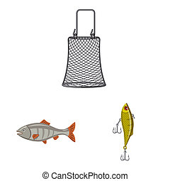 bitmap design of fish and fishing symbol. Collection of fish and equipment bitmap icon for stock.
