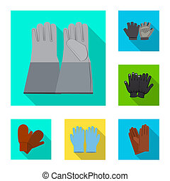 bitmap design of glove and winter icon. Collection of glove and equipment stock symbol for web.