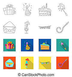 bitmap design of party and birthday icon. Set of party and celebration stock bitmap illustration.