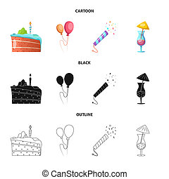 bitmap design of party and birthday sign. Set of party and celebration bitmap icon for stock.