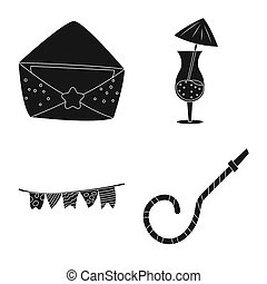 bitmap design of party and birthday symbol. Collection of party and celebration stock bitmap illustration.