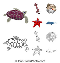 bitmap design of sea and animal icon. Collection of sea and marine bitmap icon for stock.