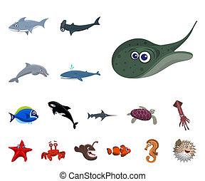 bitmap design of sea and animal sign. Collection of sea and marine stock symbol for web.