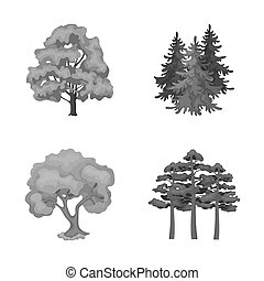 bitmap design of tree and forest sign. Set of tree and green bitmap icon for stock.