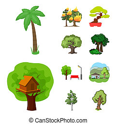 bitmap design of tree and forest sign. Set of tree and green stock symbol for web.