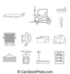 bitmap, illustration, de, marchandises, et, cargaison, icon., collection, de, marchandises, et, entrepôt, stockage, bitmap, illustration.