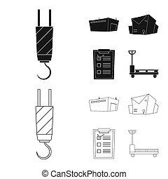 bitmap, illustration, de, marchandises, et, cargaison, logo., collection, de, marchandises, et, entrepôt, stockage, bitmap, illustration.