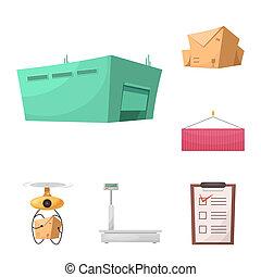 bitmap, illustration, de, marchandises, et, cargaison, signe., collection, de, marchandises, et, entrepôt, bitmap, icône, pour, stock.