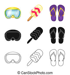 bitmap illustration of equipment and swimming icon. Collection of equipment and activity stock symbol for web.