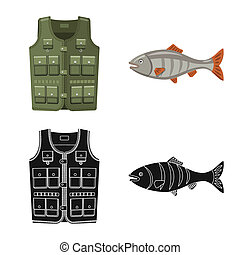 bitmap illustration of fish and fishing icon. Set of fish and equipment stock symbol for web.