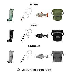 bitmap illustration of fish and fishing symbol. Set of fish and equipment stock symbol for web.