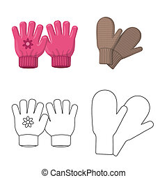 bitmap illustration of glove and winter icon. Set of glove and equipment stock symbol for web.