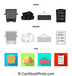 bitmap illustration of goods and cargo sign. Collection of goods and warehouse stock bitmap illustration.