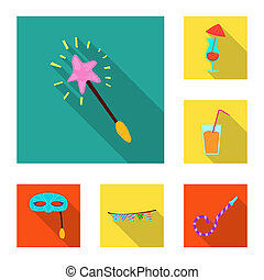bitmap illustration of party and birthday icon. Set of party and celebration stock symbol for web.