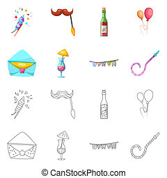 bitmap illustration of party and birthday logo. Set of party and celebration stock symbol for web.