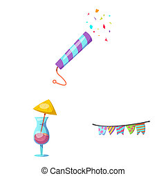 bitmap illustration of party and birthday sign. Set of party and celebration stock symbol for web.