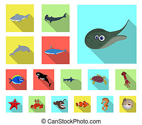 bitmap illustration of sea and animal symbol. Set of sea and marine stock bitmap illustration.