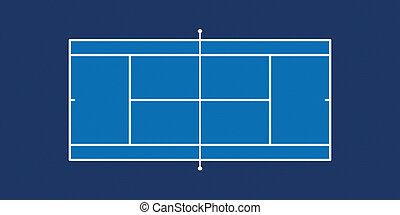 Tennis Court - Bitmap Illustration of Tennis Court (Hard...