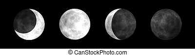 Moon Phases - Bitmap Illustration of the Four Main Moon...