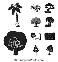 bitmap illustration of tree and forest logo. Set of tree and green stock bitmap illustration.