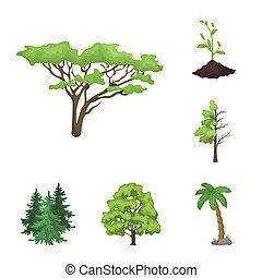 bitmap illustration of tree and forest sign. Set of tree and green stock bitmap illustration.