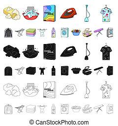 bitmap, nettoyage, illustration., dessin animé, ensemble, repassage, toile, lavage, équipement, stockage, sec, collection, vêtements, symbole, icônes, design.
