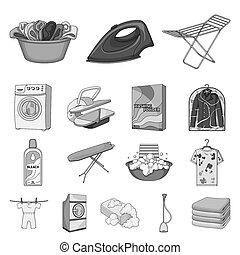 bitmap, nettoyage, illustration., ensemble, repassage, toile, lavage, équipement, stockage, sec, collection, monochrome, vêtements, symbole, icônes, design.